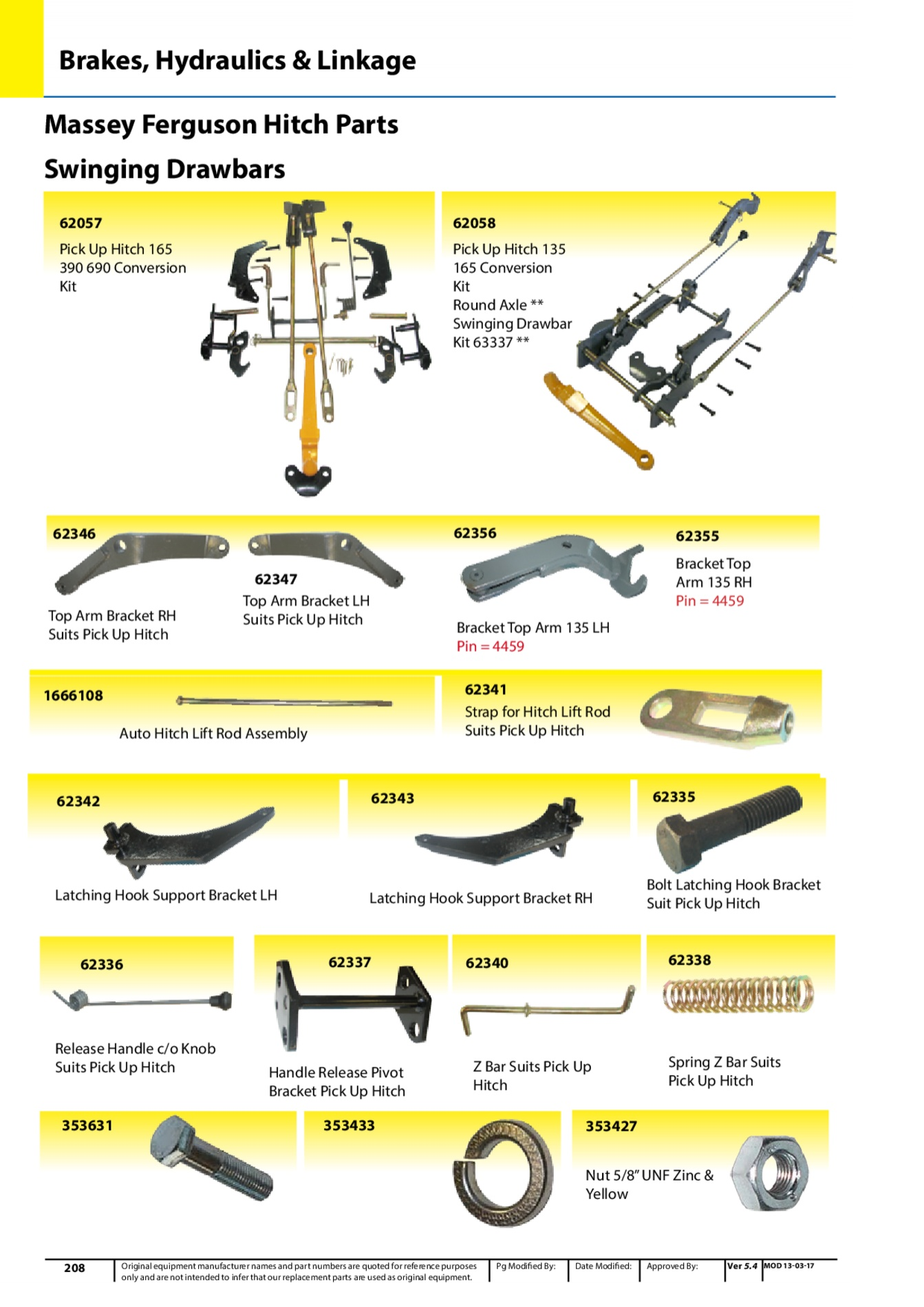 Massey Ferguson Lift Arm Leveling Assembly For : Top arm bracket rh suits pick up hitch quality tractor parts