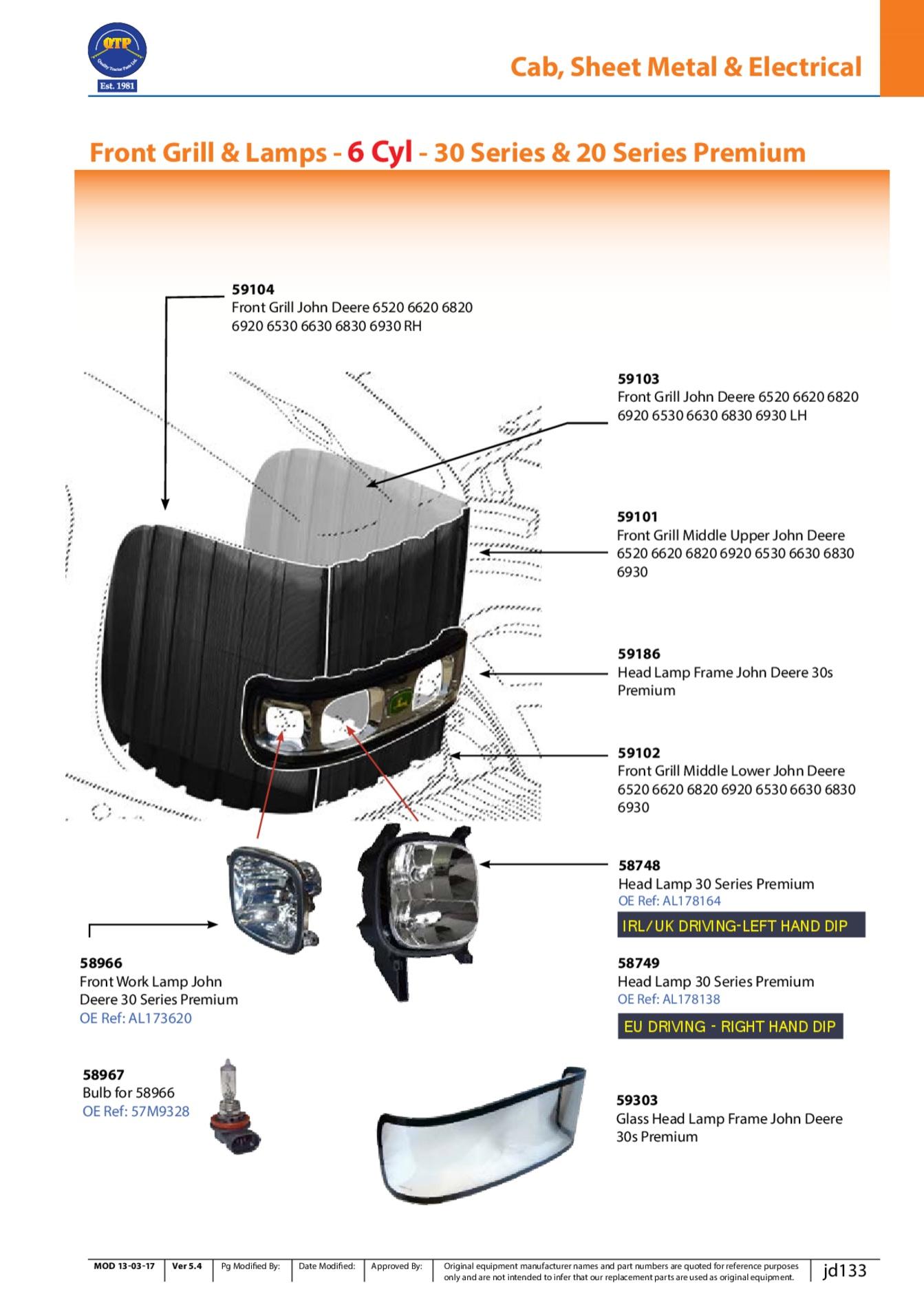 Scheinwerfer Rahmen für John Deere 30 Premium