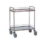 Trolley S/S 2Tier With Guard Rails 840x540x960mm with Brakes