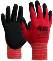 E410 Red Ram Sandy Latex Palm Coat Glove Red/Black Pkt 12