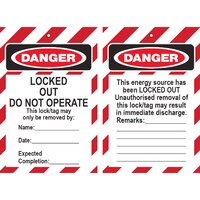 Lockout Tag (Thin) DANGER Locked Out 90x135mm Pkt 100