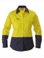 Bisley Womens Hi Vis Day Only Long Sleeve Cotton Shirt 190gsm
