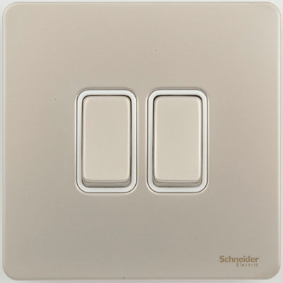Schneider Ultimate Screwless 2Gang 2way Switch Pearl Nickel white|LV0701.0907