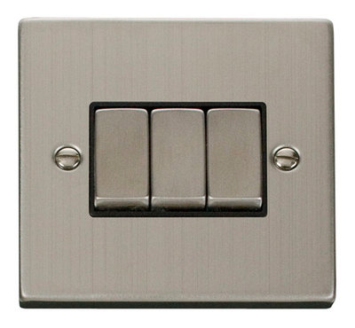 Click Deco Victorian Stainless Steel with Black Insert 3 Gang 2 Way 'Ingot' Switch | LV0101.0077
