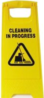 Warning Cleaning In Progress Sign Yellow