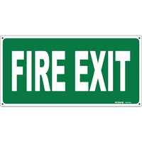 FIRE EXIT Sign White Text On Green