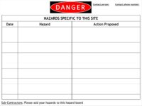 Danger Hazards Specific To This Site - Whiteboard Finish