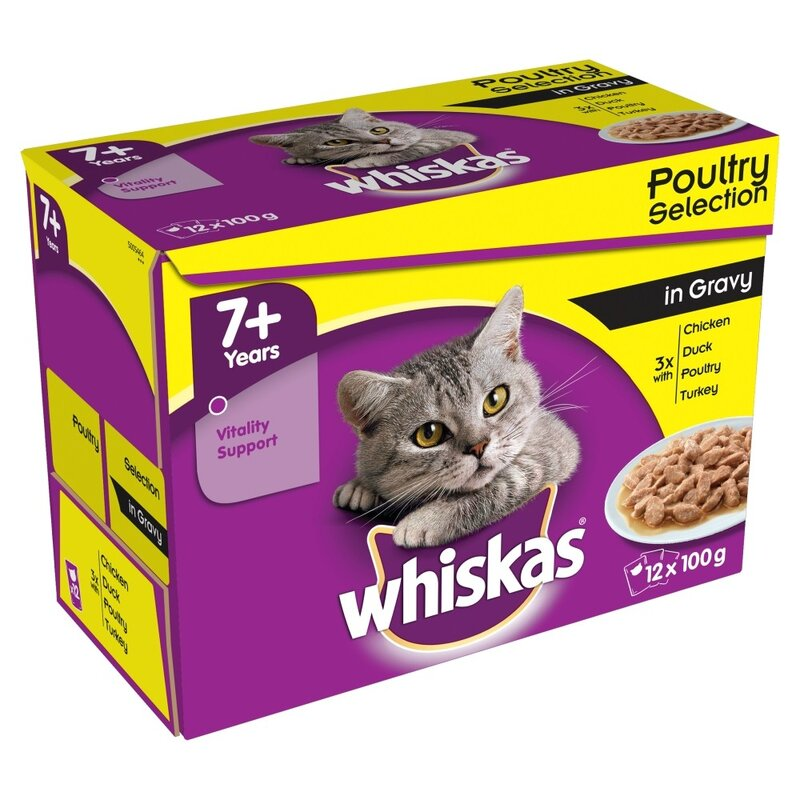 Whiskas 7+ Poultry Selection in Gravy Pouches 4 x 12 x 100g