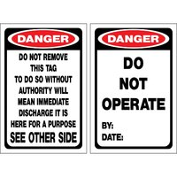 Lockout Tag DANGER Do Not Operate  Pkt 25